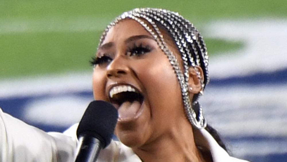 Jazmine Sullivan performing at Super Bowl