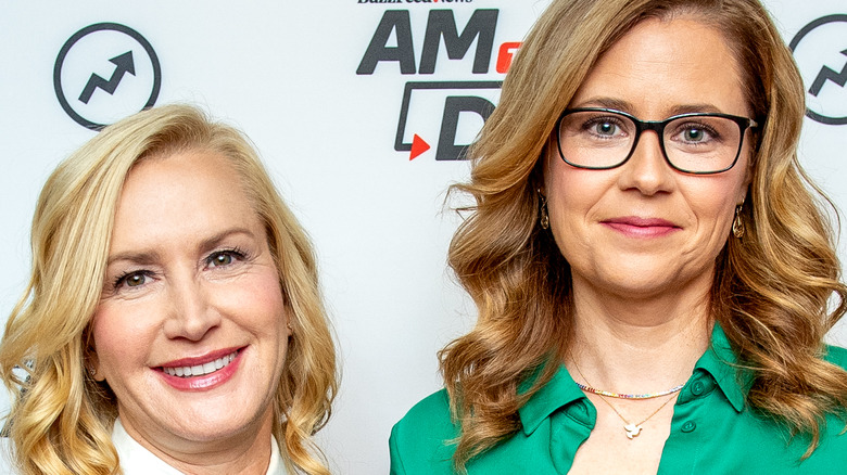 Jenna Fischer and Angela Kinsey at an event.