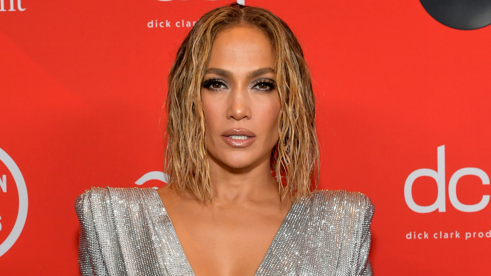 Jennifer Lopez posing with a serious expression