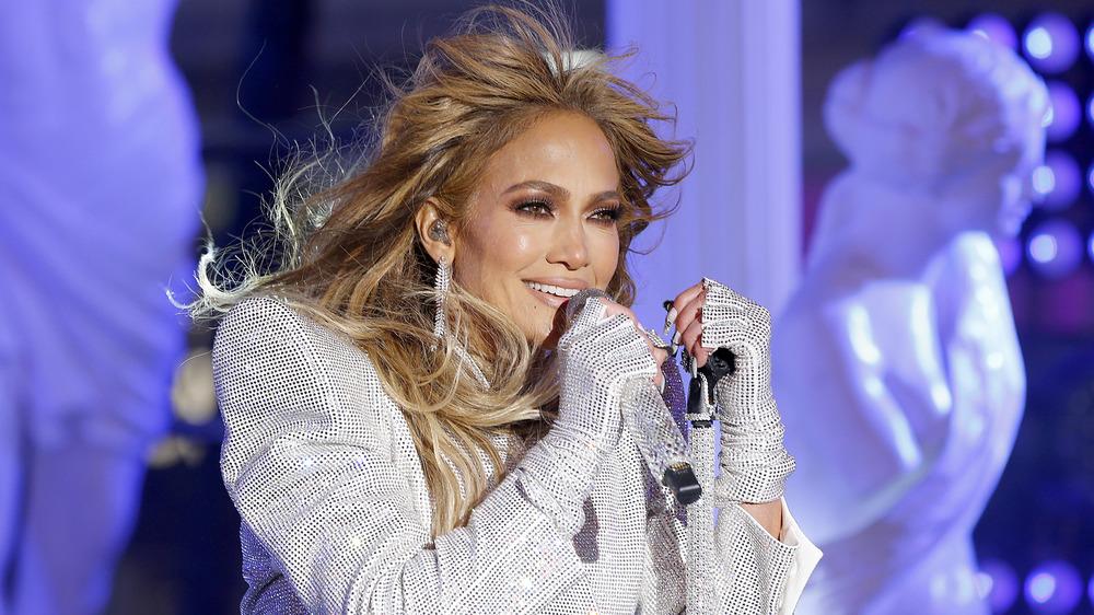 Jennifer Lopez performing on stage