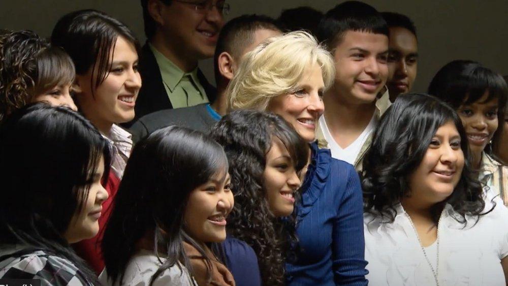 Jill Biden with students