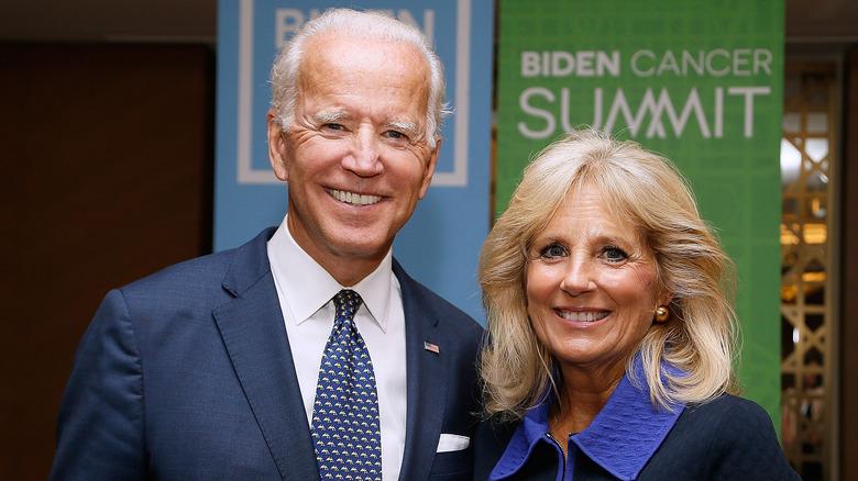 Joe Biden and Jill Biden smiling at the Biden Cancer Summit