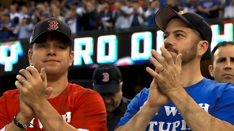 Matt Damon and Jimmy Kimmel at a Red Sox game