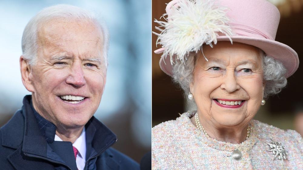 Joe Biden and Queen Elizabeth smiling