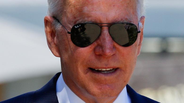 President Biden wearing sunglasses