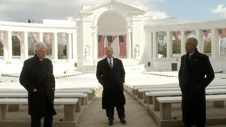 Presidents Obama, Clinton, and Bush