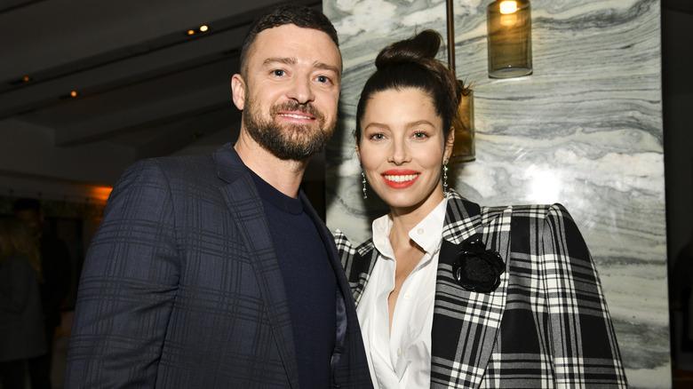 Timberlake with wife Jessica Biel