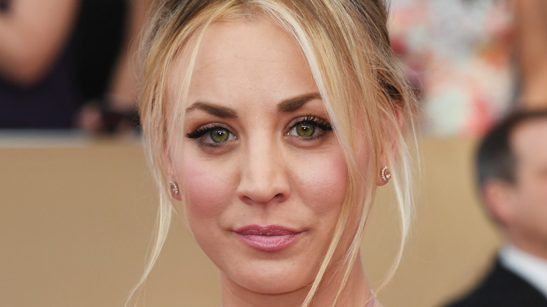 Kaley Cuoco poses on the red carpet