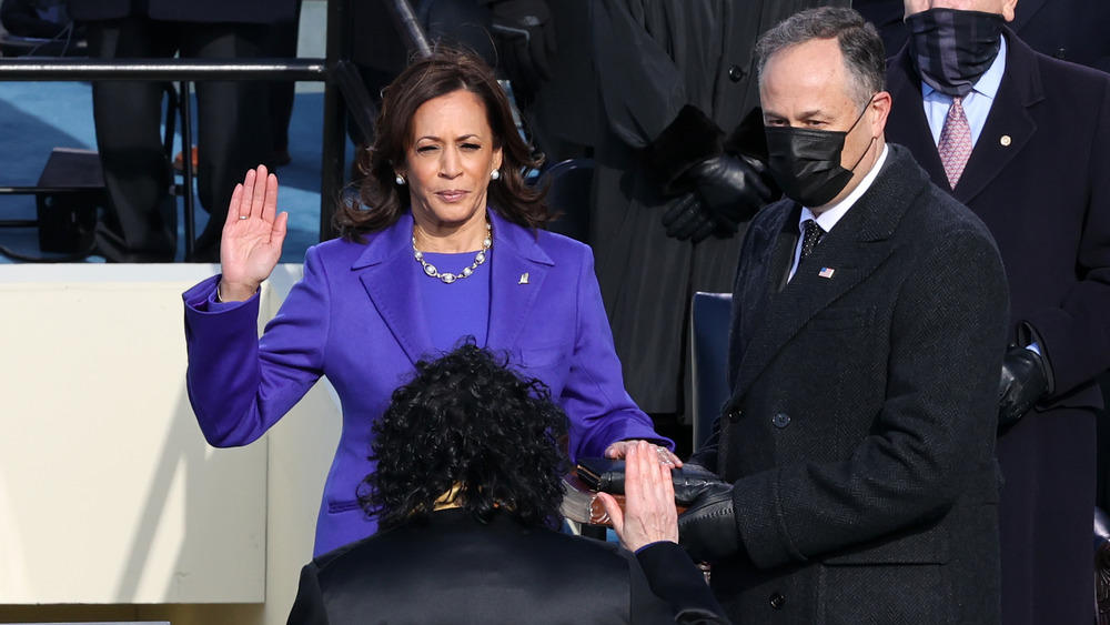 Kamala Harris with Doug Emhoff being sworn into office