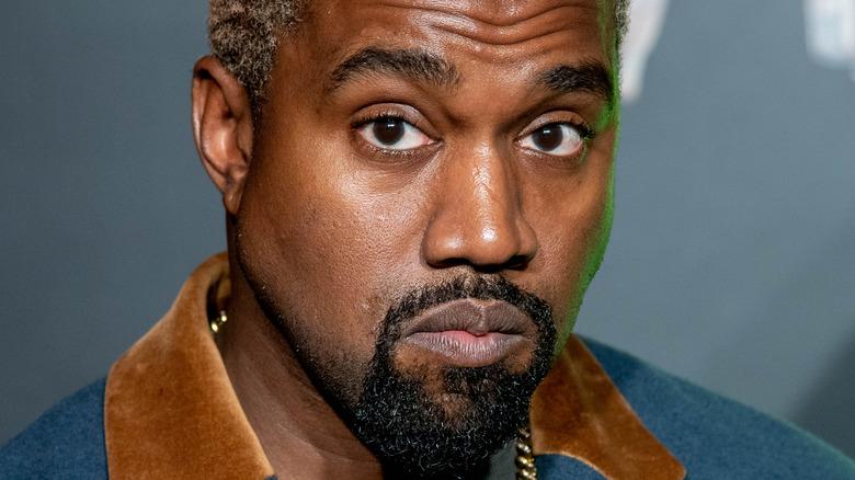 Kanye West looks despondent