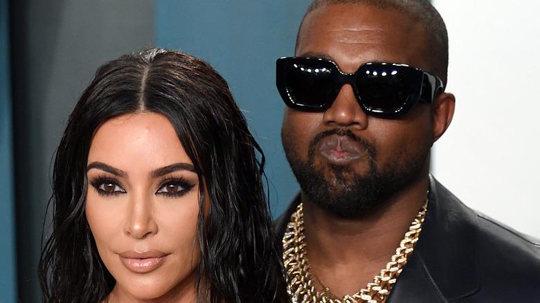 Kanye West and Kim Kardashian attending event