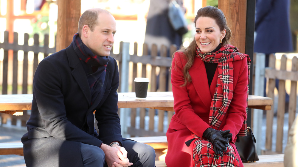 Kate and William outdoors in coats