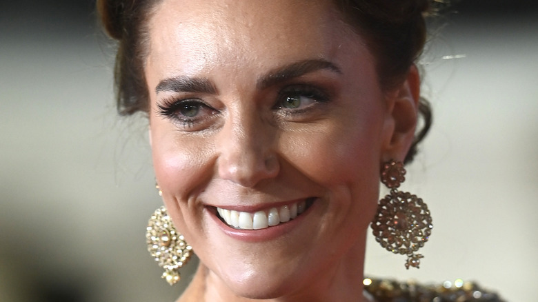 Kate Middleton with her hair up at No Time To Die movie premiere.