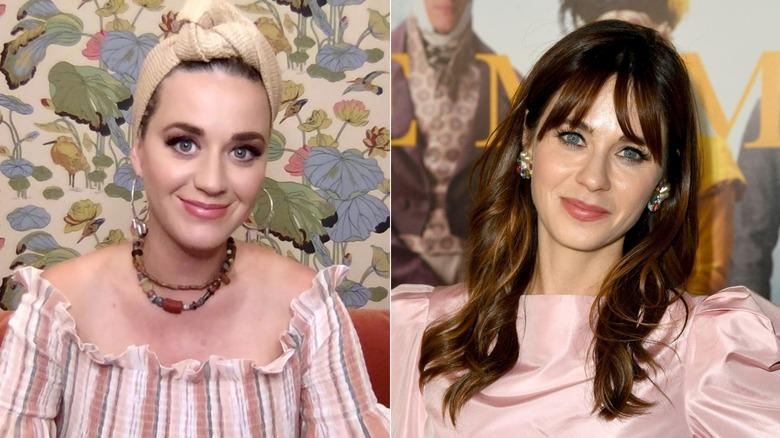 Split image of Katy Perry and Zooey Deschanel