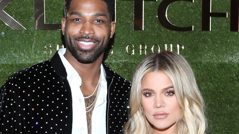 Tristan Thompson and Khloe Kardashian at an event