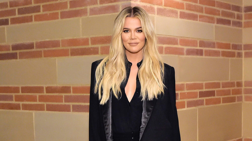 Khloe Kardashian in black suit
