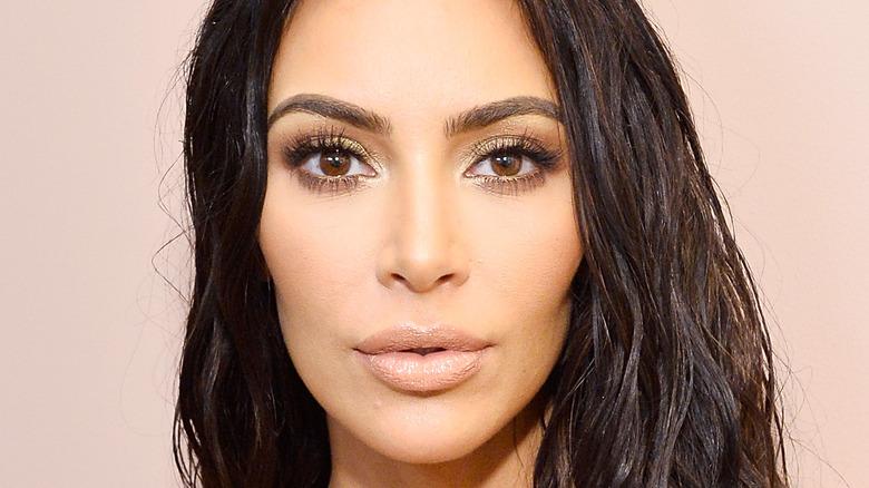 Kim Kardashian poses for the camera.