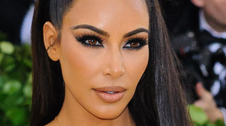 Kim Kardashian poses at the Met Gala