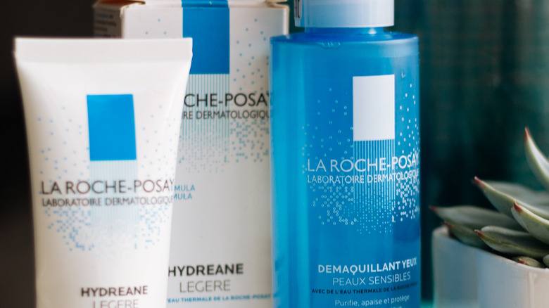 La Roche-Posay products next to succulent