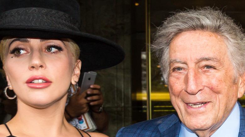 Lady Gaga and Tony Bennett posing for cameras