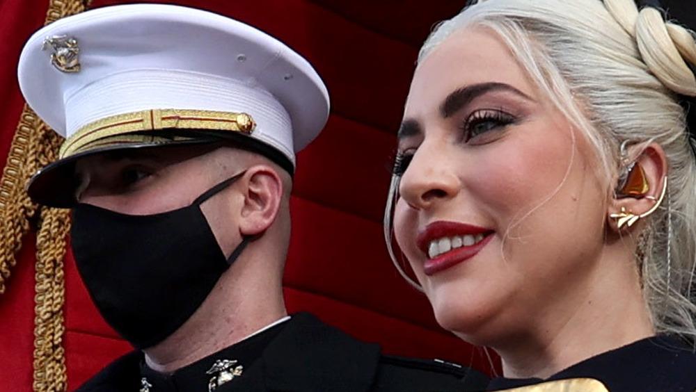 Lady Gaga and Marine escort on Inauguration Day