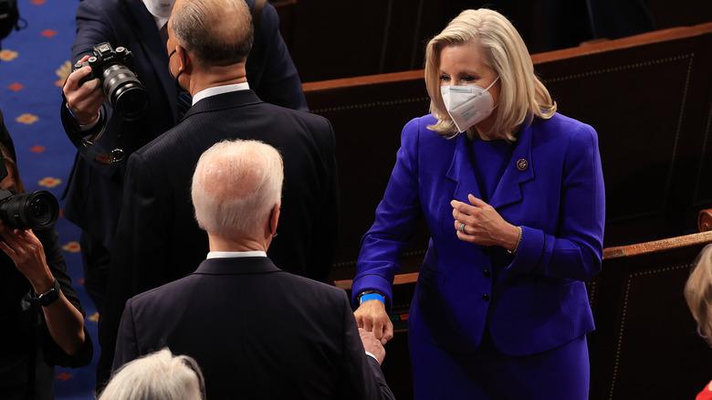 Liz Cheney fist bumping Biden