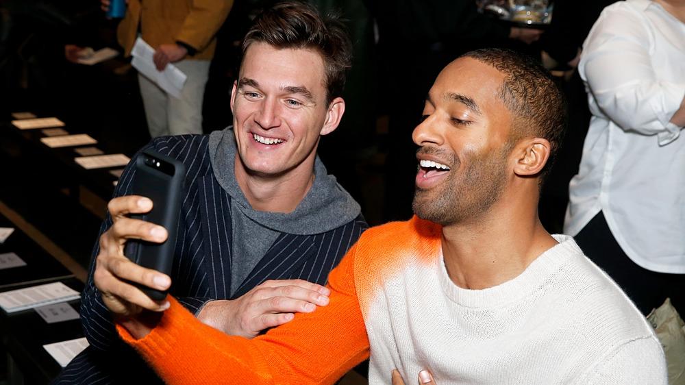 Bachelor Nation's Matt James and Tyler Cameron laughing
