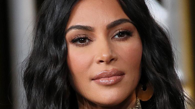 Kim Kardashian posing serious