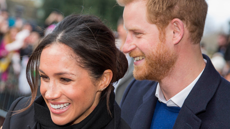 Meghan Markle and Prince Harry greeting fans