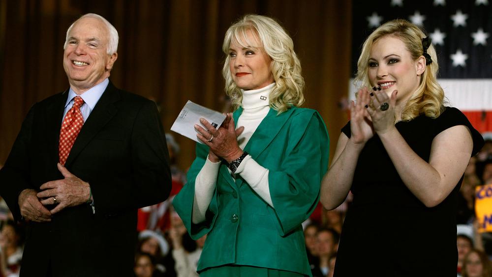 John, Cindy and Meghan McCain clapping