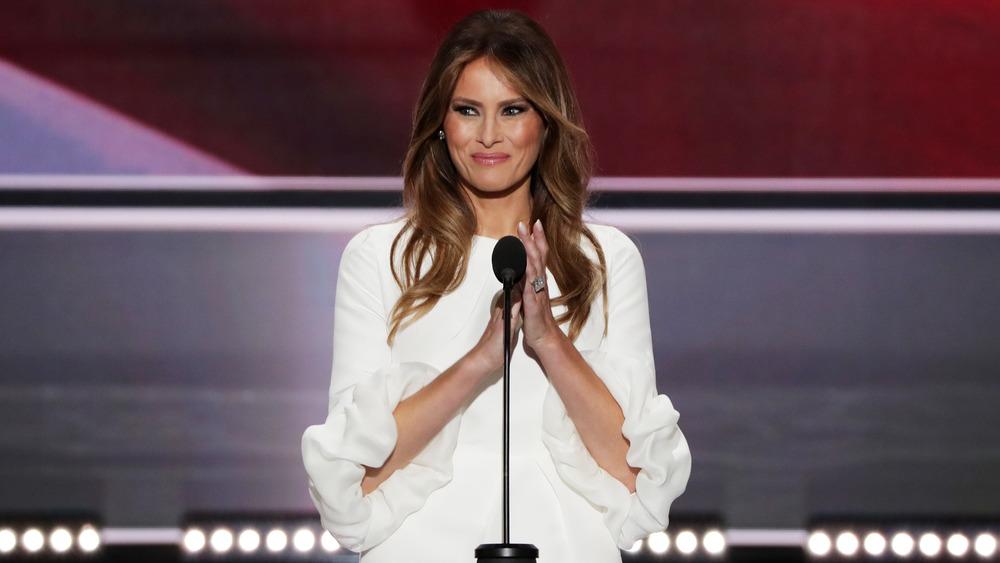 Melania Trump gives a speech at an event