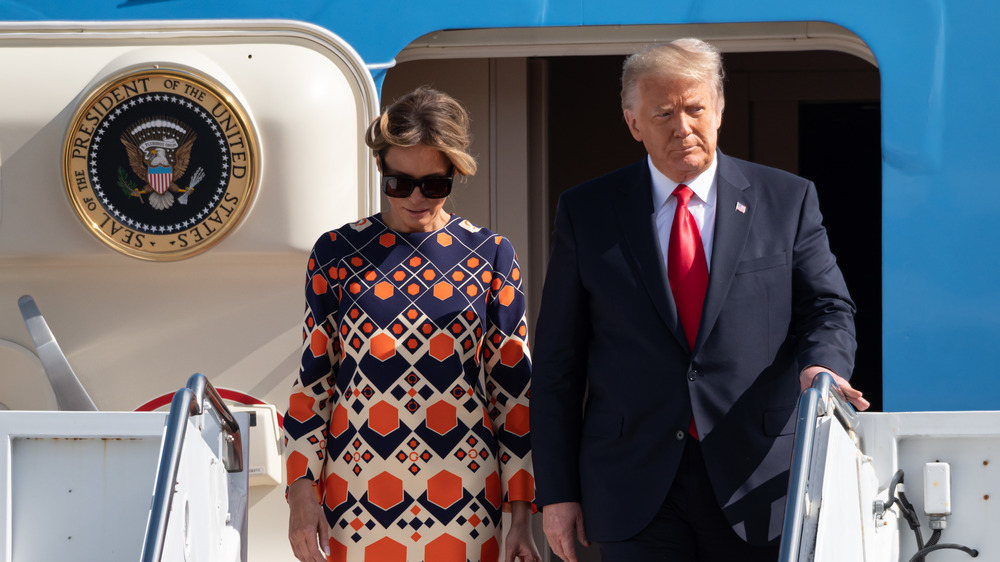 Melania and Donald Trump exiting Air Force One
