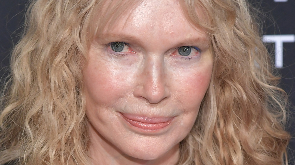 Mia Farrow poses on the red carpet at an event