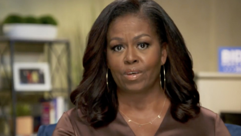 Michelle Obama speaking to voters