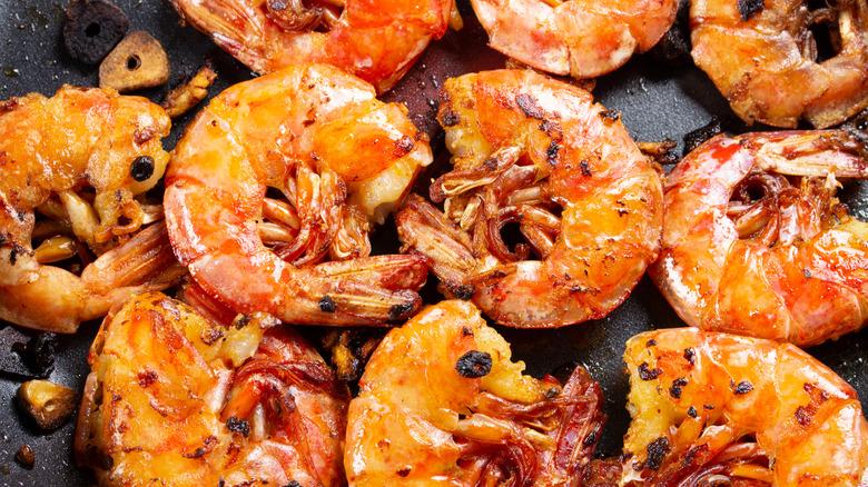 close-up of seasoned grilled shrimp