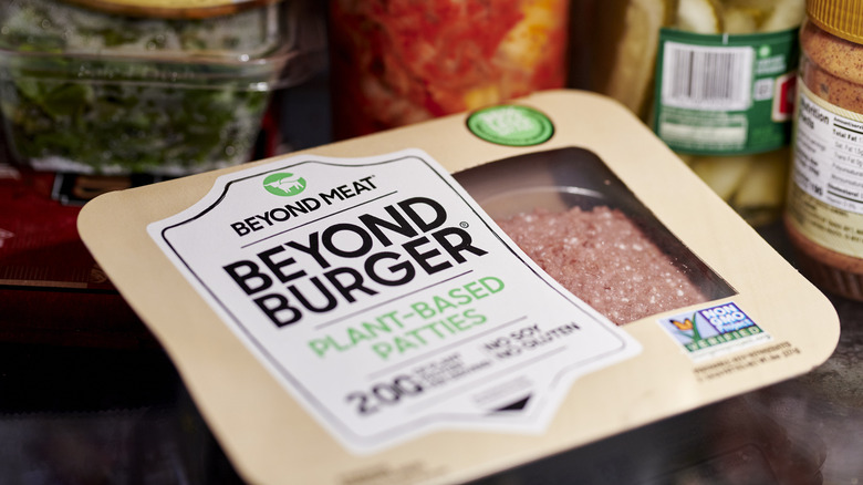 Beyond burger package in a fridge
