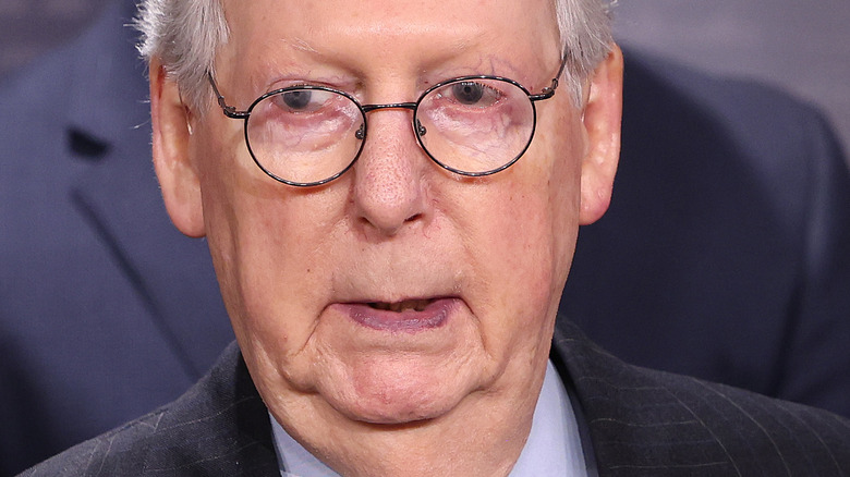 Mitch McConnell before a press conference