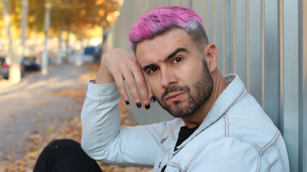 Man wearing nail polish