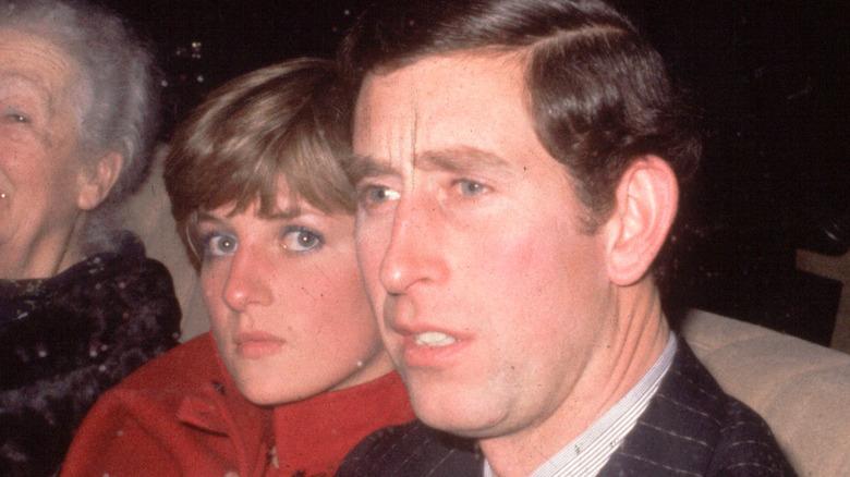 Princess Diana and Prince Charles being driven