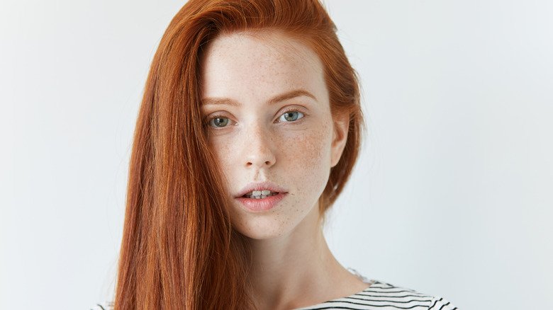 A redheaded woman's face