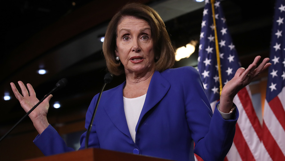 Nancy Pelosi exasperated while speaking to the floor