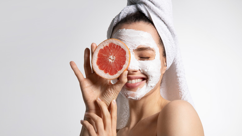 Face mask on a woman
