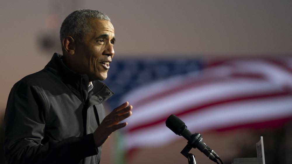Obama speaking at a Biden rally
