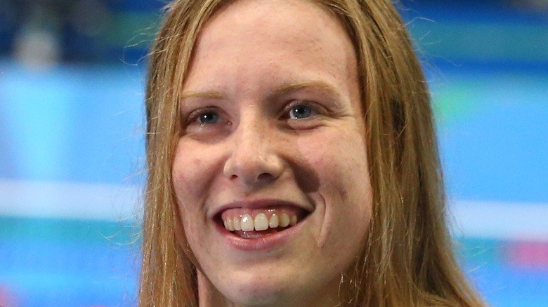 Lilly King smiles with her hair down