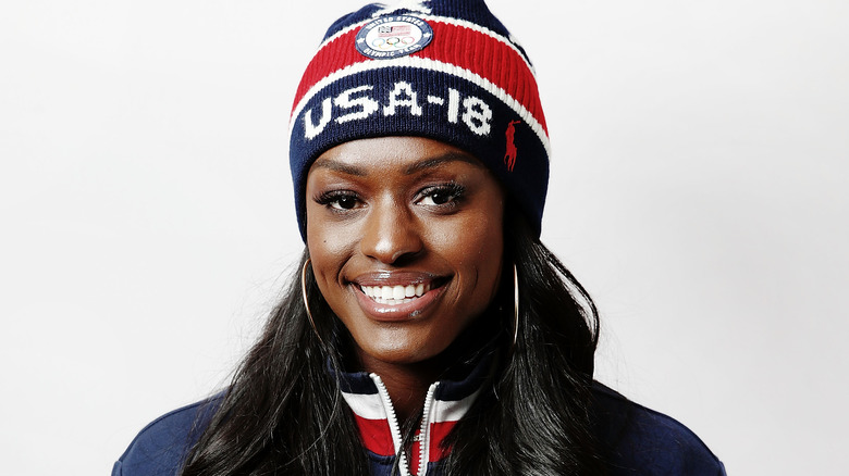 Olympic athlete Aja Evans with makeup