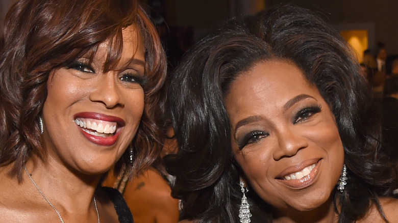 Gayle King and Oprah Winfrey at the Golden Globes