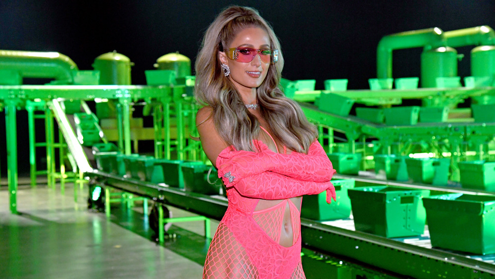 Paris Hilton in hot pink outfit