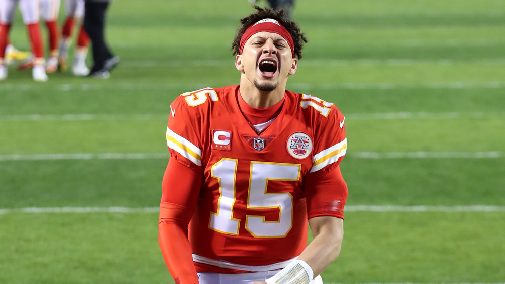 Patrick Mahomes celebrating during an NFL game
