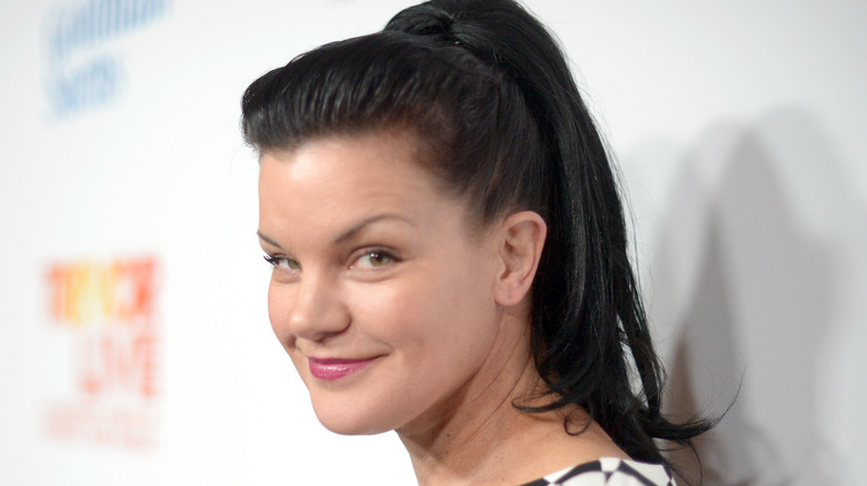 Pauley Perrette poses on the red carpet