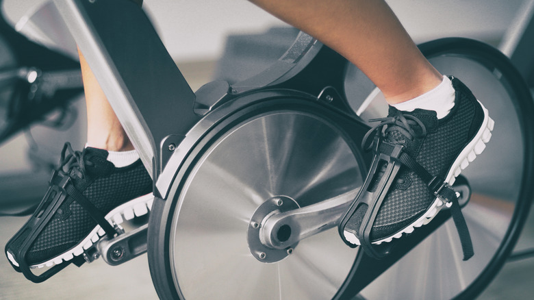Closeup of person pedaling exercise bike